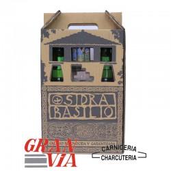 Caja de 2 botellas de sidra natural asturiana y vaso de Basilio
